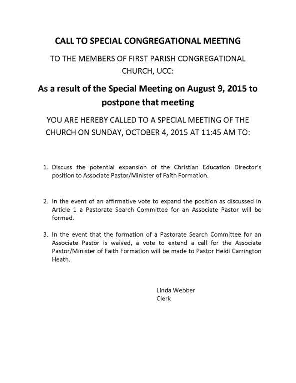 Special Meeting call 10-4-15